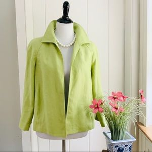 TALBOTS Lime Green Pure Irish Linen Blazer Jacket